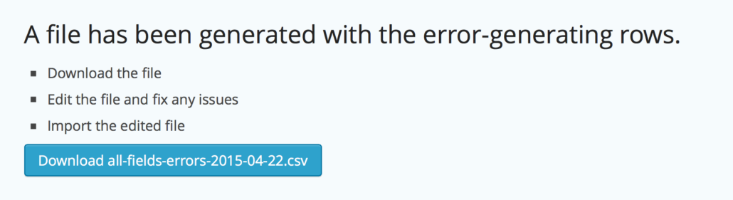 Import Entries - Download records with errors