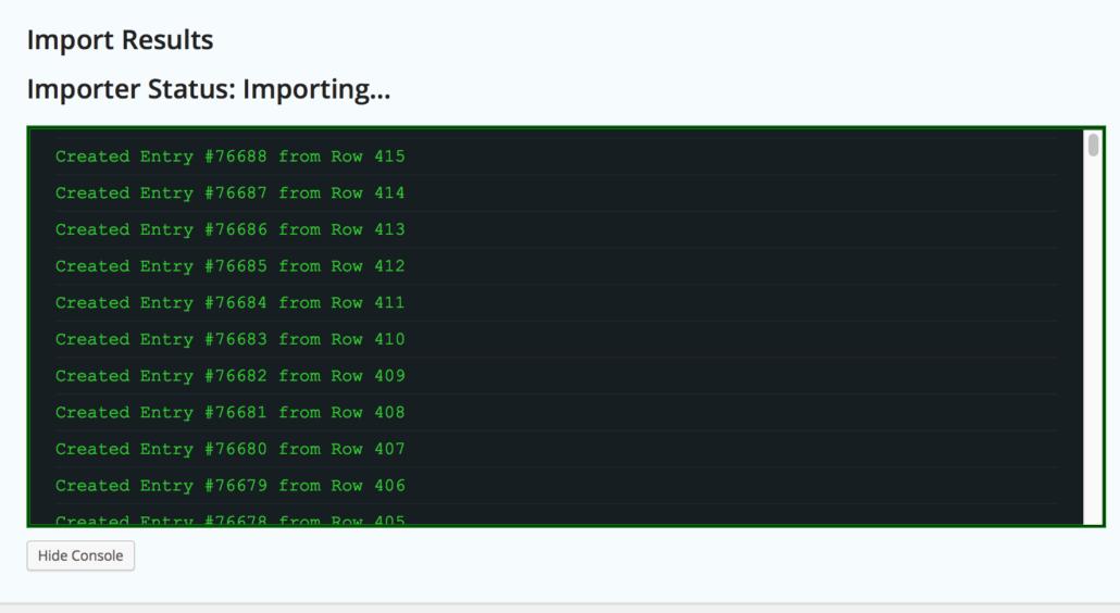 Import Entries - Live status