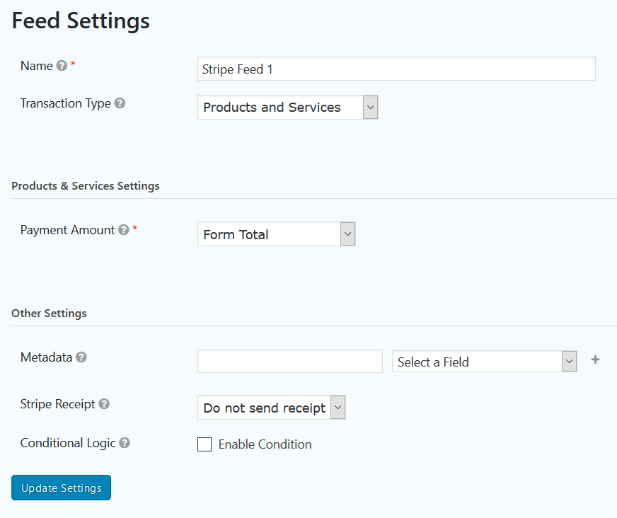 Stripe Feed Settings