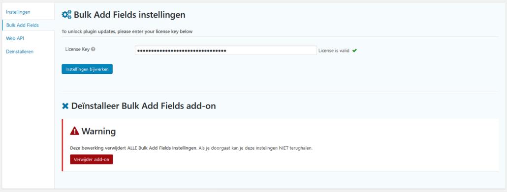 Bulk Add Fields Settings