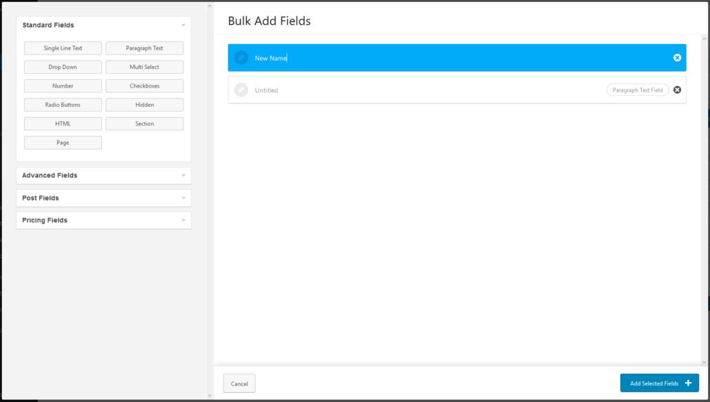 Bulk Add Fields - Rename