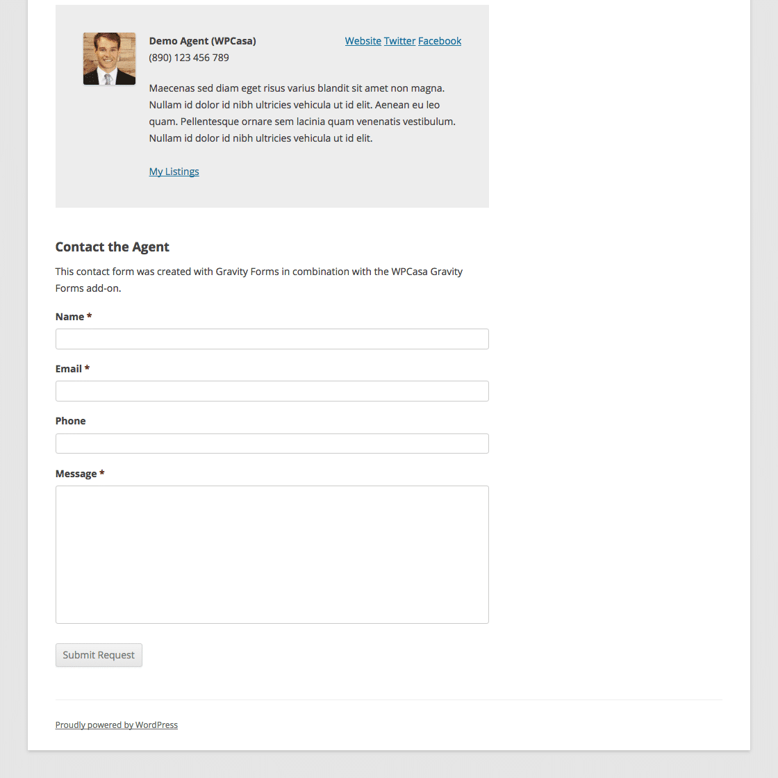 WPCasa Example Form